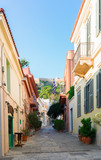 small cosy street of Placa district with Acropolis hill in Athens, Greece - 154349064