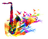 Music background with saxophone, flying birds and music notes