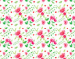A seamless background pattern with watercolour roses and leaves - 154366261