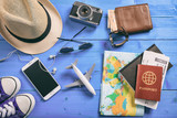 Travel and vacation accessories - top view - 154370058