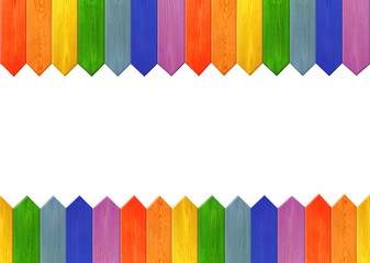 pattern from multicolored sharp boards like a rainbow