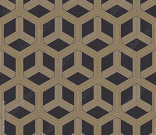 Seamless antique palette black and gold hexagonal op art striped illusion pattern vector - 154418238