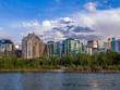 Condo towers in urban Calgary along the Bow River