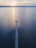 Aerial view of Long jetty, Australia at sunset hour.