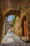 Charming narrow street in the old town of Rhodes, Rhodes island, Greece - 154504020
