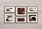 Six photo frames set with coffee motif posters on wooden wall, coffee shops decoration mock up