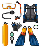 Different equipments for scuba diving