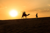 camel ride during sunset