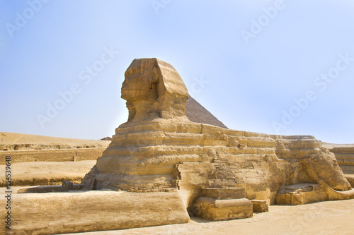 Guardian Sphinx guarding the tombs of the pharaohs in Giza. Cairo, Egypt