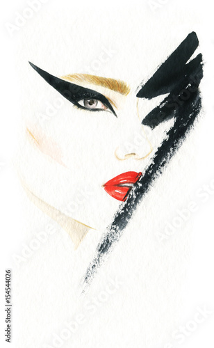 Make up. Woman face and place for text. Fashion illustration. Watercolor painting