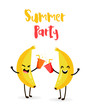 Funny cartoon bananas drink juice. Summer Party. Flat style. Vector. - 154544465