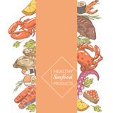 Menu design restaurant brochure. Hand Drawn Seafood with Octopus Salmon and Oysters. Vector illustration