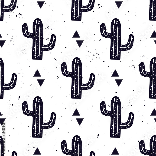Fototapeta Vector black and white seamless pattern with cactuses and triangles. Modern design for fashion, print, poster, card, textile. Scandinavian style.