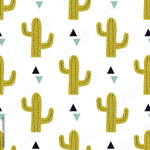Vector seamless pattern with cactuses and triangles. Modern design for fashion, print, poster, card, textile. Scandinavian style. - 154553061