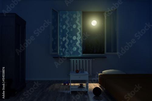 Schlafzimmer Kinder bei Nacht mit leuchtendem Mondschein