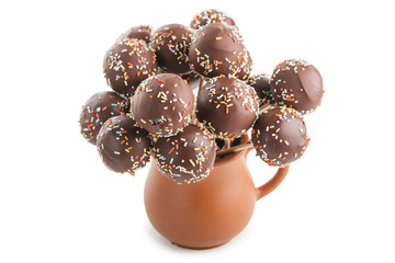 sweet balls in chocolate glaze