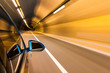 car driving with tunnel motion blur