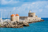 Agios Nikolaos Fortress (Fort of Saint Nicholas) and mills at Rhodes old town, Rhodes island, Greece - 154611228