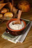 potato starch in terracotta bowl