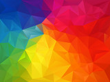 vector abstract irregular polygon background with a triangle pattern in full multi color - rainbow spectrum - 154629225