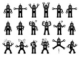 Robot Cartoon Characters In Various Poses Actions And Emotions Cliparts Depict The Robot Standing Moving Smiling Sad Crying Angry And Some Other Feelings Wall Sticker