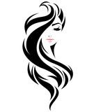 ikona kobiety długie włosy styl, twarz kobiety logo na białym tle