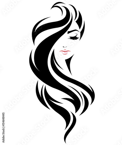 women long hair style icon, logo women face on white background - 154648445