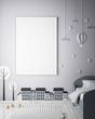 mock up poster frame in children bedroom, scandinavian style interior background, 3D render, 3D illustration - 154655243