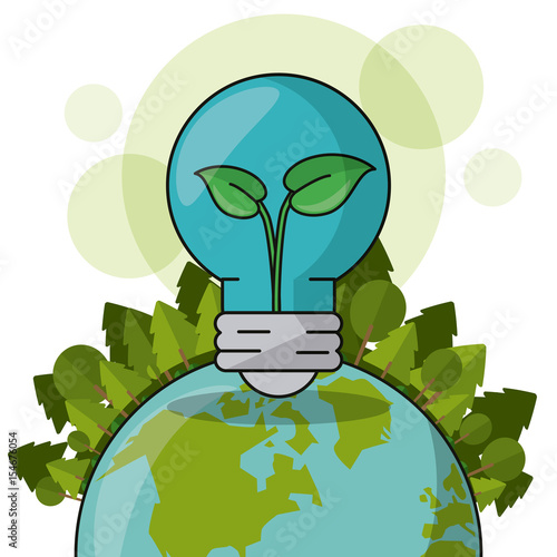 ecology world bulb plant forest green concept vector illustration