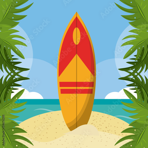 summer beach in the seashore with surfboard and leaves palm border. vector illustration