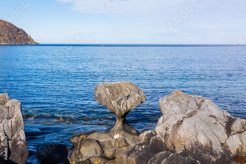 Kannesteinen is a special shaped stone located on the shore of Oppedal Poster