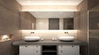 Oriental toilet with double basins , 3d rendering