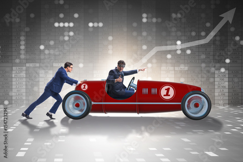 Businessman car pushing in teamwork concept Poster