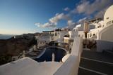 White architecture with pool on Santorini Island, Greece.