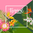 Tropical Flowers Summer Banner, Graphic Background, Exotic Floral Invitation, Flyer or Card. Modern Front Page in Vector - 154747215