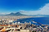 Naples, Italy, Europe - panoramic view of the gulf and Vesuvius volcano