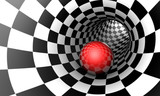 Red ball in a chess tunnel. Predetermination. The space and time. 3D illustration. © grechka27