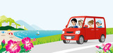 Car driving in the Seaside road -Family