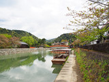 Natural view of Uji river and wooden boat in spring season, Kyoto, Japan