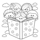 Group of kids reading a book. Black and white coloring book page.
