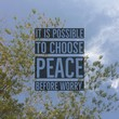 """Inspirational motivational quote """"It is possible to choose peace before worry"""" on bamboo leaf and sky background."""