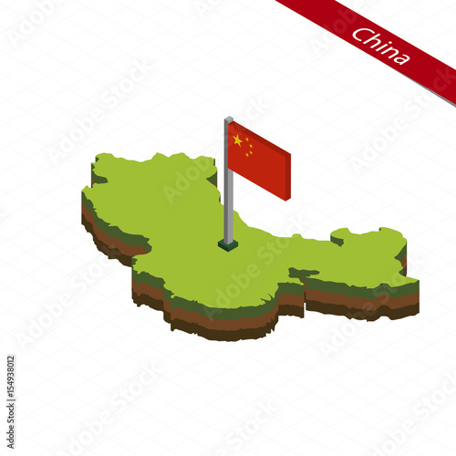 China Isometric map and flag. Vector Illustration. - 154938012