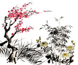 Chinese traditional distinguished gorgeous decorative hand-painted ink-bamboo,Orchid, Plum Blossom, Chrysanthemum