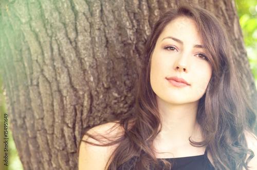 Portrait of romantic female in a spring portrait
