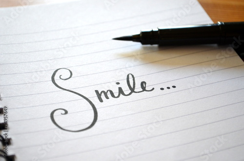 """""""Smile…"""" hand lettered in notebook Poster"""