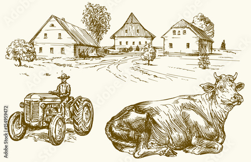 Farm, country village, tractor and cow. Hand drawn collection.
