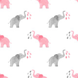 Fototapety Watercolor cute elephants pattern. Vector simple seamless background for kids.