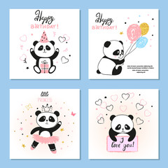 Cute Panda bear vector illustrations. Set of birthday greeting cards, posters, prints.