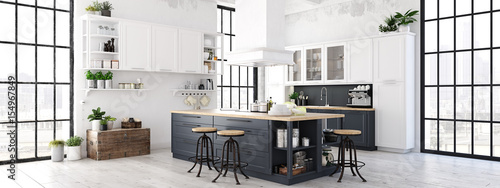 modern nordic kitchen in loft apartment. 3D rendering © 2mmedia