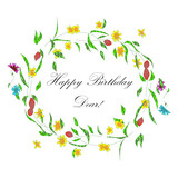 Wreath with daisy flowers and Happy Birthday in the center